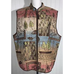 Alfred Dunner 16P Vest Zip Leaves Tapestry Vintage